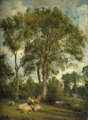 Realism painting reproductions: Landscape with Sheep