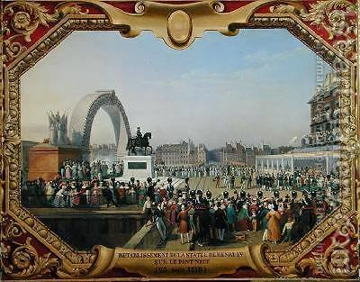 Re-establishment of the Statue of Henri IV 1553-1610 on Pont Neuf by Hippolyte Lecomte - Reproduction Oil Painting