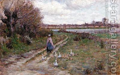 The Goose girl by Henri Eugene Augustin Le Sidaner - Reproduction Oil Painting