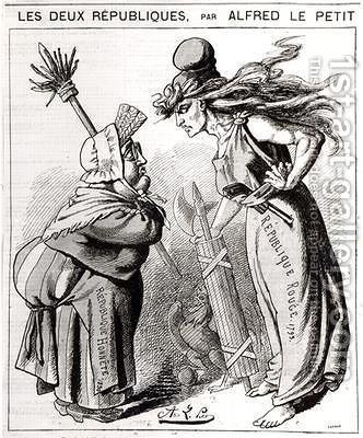 Cartoon depicting the Social French Republic against the Conservative French Republic from Le Grelot by Alfred Le Petit - Reproduction Oil Painting