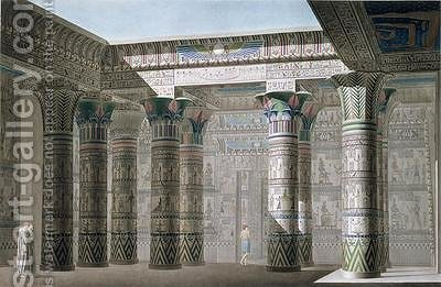 Interior perspective view from the portico of the Grand Temple on the Island of Philae by (after) Le Pere - Reproduction Oil Painting