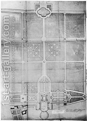 Plan of the first works at Versailles by Andre Le Notre - Reproduction Oil Painting
