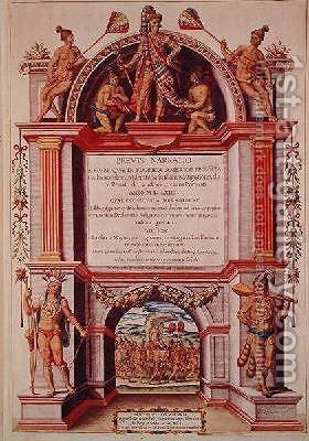 Frontispiece to Brevis Narratio by (after) Le Moyne, Jacques (de Morgues) - Reproduction Oil Painting