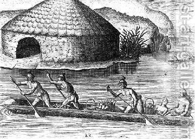 Florida Indians Storing their Crops in the Public Granary by (after) Le Moyne, Jacques (de Morgues) - Reproduction Oil Painting