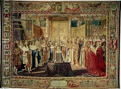 The Coronation of Louis XIV 1638-1715 in 1654 by (after) Le Brun, Charles - Reproduction Oil Painting
