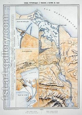 Map of the Suez Canal by A. Le Bealle - Reproduction Oil Painting