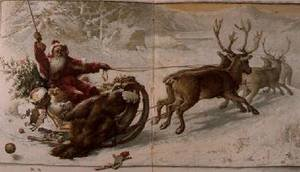 Famous paintings of Christmas: Santa Claus driving his sleigh through the snow