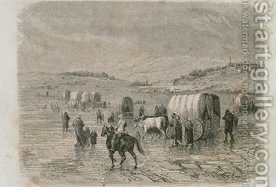 A Wagon Train Heading West in the 1860s by Eugene Antoine Samuel Lavieille - Reproduction Oil Painting