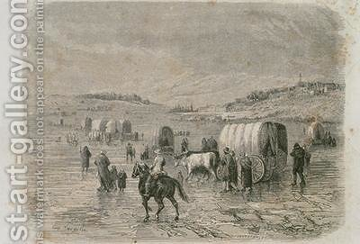 Huge version of A Wagon Train Heading West in the 1860s