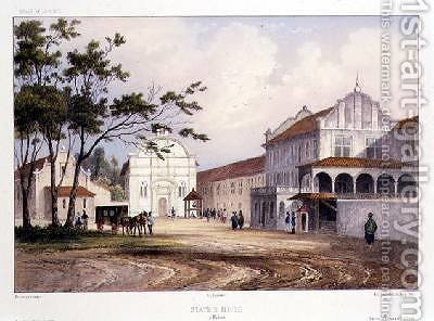 States House at Malacca by (after) Lauvergne, Barthelemy - Reproduction Oil Painting