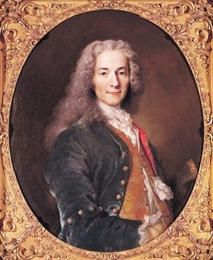 Rococo painting reproductions: Portrait of Voltaire 1694-1778