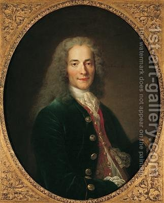 Portrait of Voltaire 1694-1778 by (after) Largilliere, Nicholas de - Reproduction Oil Painting