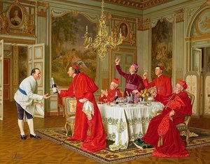 Famous paintings of Furniture: Louis XIVs Apartments at Versailles the Chefs Birthday