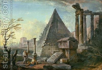 Pyramid of Caius Cestius at Rome by Jean-Baptiste Lallemand - Reproduction Oil Painting