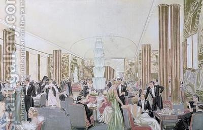 View of the smoking room on the Normandie by Andre Lagrange - Reproduction Oil Painting