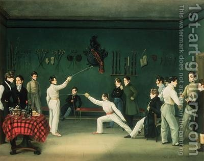 A Fencing Scene by Adolphe Ladurner - Reproduction Oil Painting