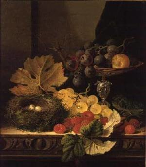 Realism painting reproductions: A Still Life of a Birds Nest Grapes in a Silver Dish and other Fruit