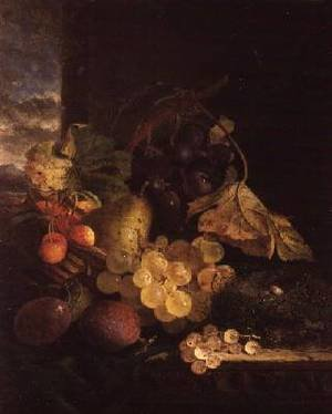 A Still Life with a Basket of Fruit and a Birds Nest on a Wooden Ledge