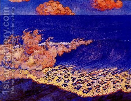 Georges Lacombe: Blue seascape Wave Effect - reproduction oil painting