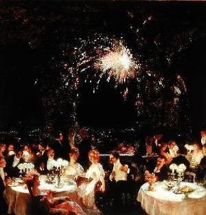 Famous paintings of Fireworks: Dinner at the Casino