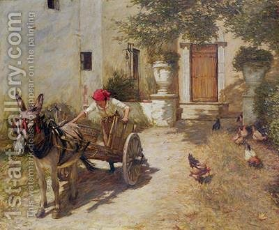 Farm Yard Scene by Henry Herbert La Thangue - Reproduction Oil Painting