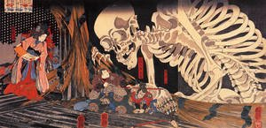 Famous paintings of Skeletons: Mitsukini Defying the Skeleton Spectre