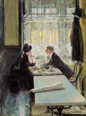 Famous paintings of Cafes & Bistros: Lovers in a Cafe
