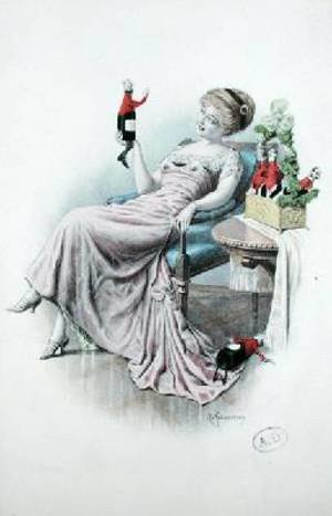 F. Kuderna reproductions - Postcard depicting a woman with bottles of champagne in the shape of men