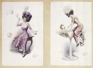 F. Kuderna reproductions - Postcards depicting a woman blowing bubbles and fishing in a Champagne Glass