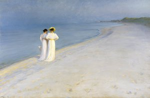 Peder Severin Kroyer reproductions - Summer Evening on the Skagen Southern Beach with Anna Ancher and Marie Kroyer