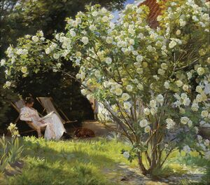 Peder Severin Kroyer reproductions - Roses or The Artists Wife in the Garden at Skagen