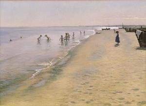 Reproduction oil paintings - Peder Severin Kroyer - Summer Day at the South Beach of Skagen