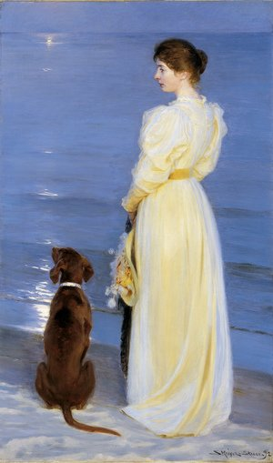 Reproduction oil paintings - Peder Severin Kroyer - Summer Evening at Skagen the Artists Wife with a Dog on the Beach
