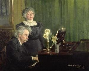 Reproduction oil paintings - Peder Severin Kroyer - Edward Grieg 1843-1907 Accompanying his Wife