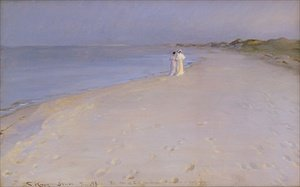 Peder Severin Kroyer reproductions - Summer evening at the South Beach Skagen