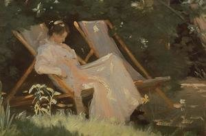 Reproduction oil paintings - Peder Severin Kroyer - The artists wife sitting in a garden chair at Skagen