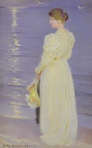 Reproduction oil paintings - Peder Severin Kroyer - Woman in White on a Beach