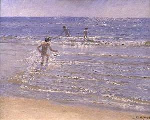 Reproduction oil paintings - Peder Severin Kroyer - Sunshine at Skagen Boys Swimming