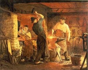 Reproduction oil paintings - Peder Severin Kroyer - The Forge