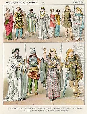 Dress of the Britons Gauls and Germans by Albert Kretschmer - Reproduction Oil Painting