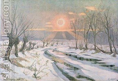Annular eclipse of the sun by (after) Kranz, W. - Reproduction Oil Painting