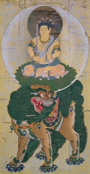 Medieval & Gothic Art painting reproductions: The Bodhisattva Manjushri riding on a lion breathing vapour