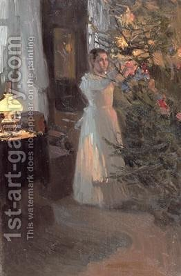 The Christmas Tree by Alexei Mikhailovich Korin - Reproduction Oil Painting