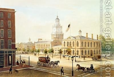 State House Philadelphia by (after) Kollner, Augustus - Reproduction Oil Painting