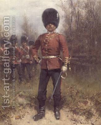 Portrait of an Officer of the Grenadier Guards by Hermanus Koekkoek - Reproduction Oil Painting