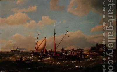 Fishing Vessels in an estuary by Hermanus Koekkoek - Reproduction Oil Painting