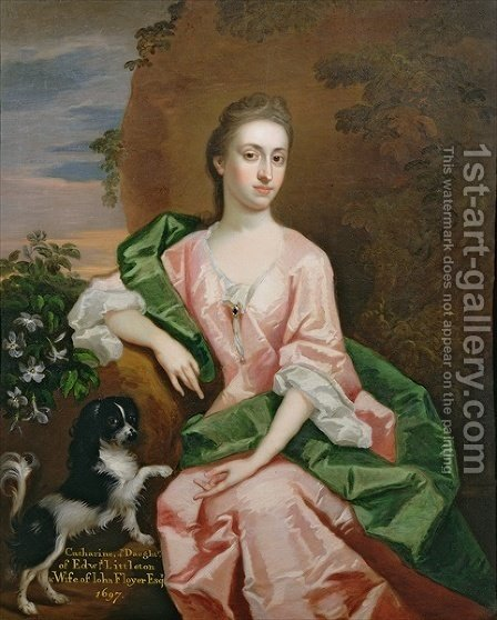 Catharine Littleton wife of John Floyer by (after) Kneller, Sir Godfrey - Reproduction Oil Painting