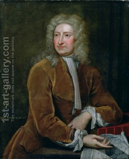 Portrait of Edmond Halley 1656-1742 by (after) Kneller, Sir Godfrey - Reproduction Oil Painting