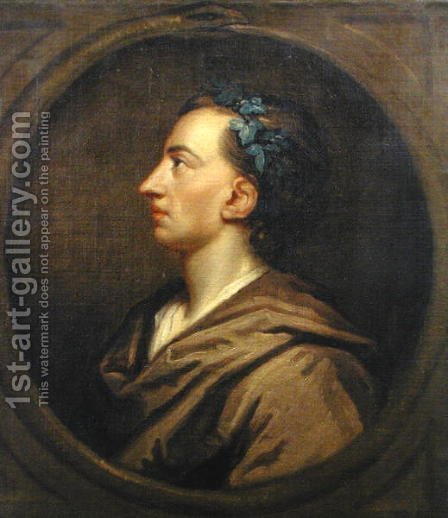 Alexander Pope 1688-1744 Profile Crowned with Ivy by (after) Kneller, Sir Godfrey - Reproduction Oil Painting