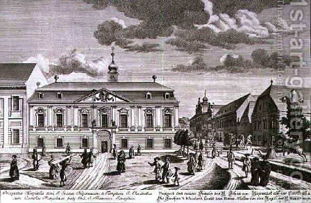 View of the new hospital of St John Nepomuk Vienna by (after) Kleiner, Salomon - Reproduction Oil Painting